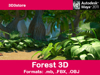 trees forest 3d obj