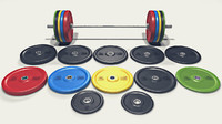 3d model set olympic barbell