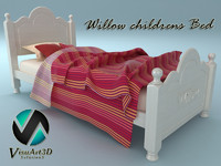 willow bed 3d obj