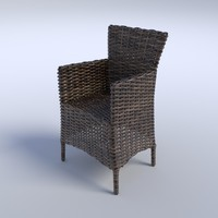 wicker arm chair 3d model