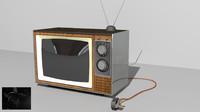 3d vintage television model