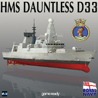 3d model hms dauntless d33 type 45