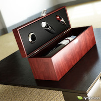 Wine Box Set with Red Wine Bottle