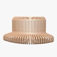 3d model curvy park bench