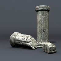 cracked greek columns 3d model