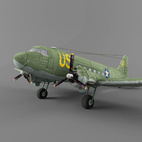 3d douglas c-47 transport model