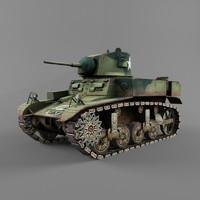 m3 stuart artillery 3d model