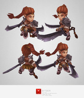 3d model of hand painted barbarian girl character