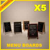 menu boards 3d model