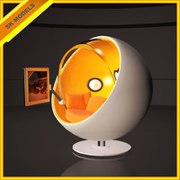 3d hitech ball chair modern interior model