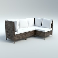 3d model outdoor wicker sofa chair