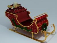 santa sled 3d model