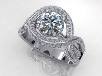 Pave Twif Diamond Ring Small