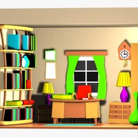 maya cartoon office room