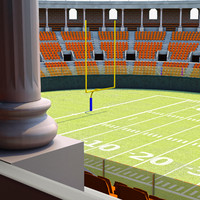 football stadium harvard 3d obj