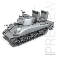 3d m4a1 sherman deep wading model