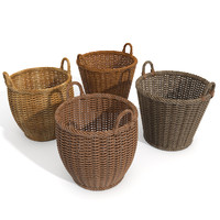 Wicker Wood Basket Set