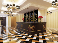 3d model reception hotel interior