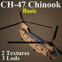 ch-47 chinook basic helicopter 3d model