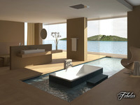 3d model of bathroom scene