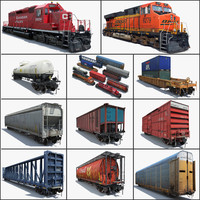 3d freight train cargo cars model