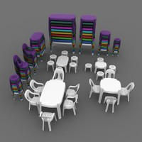 3d model set plastic table chair