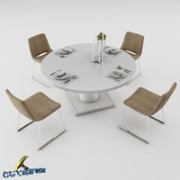 3d model of dining table set 07