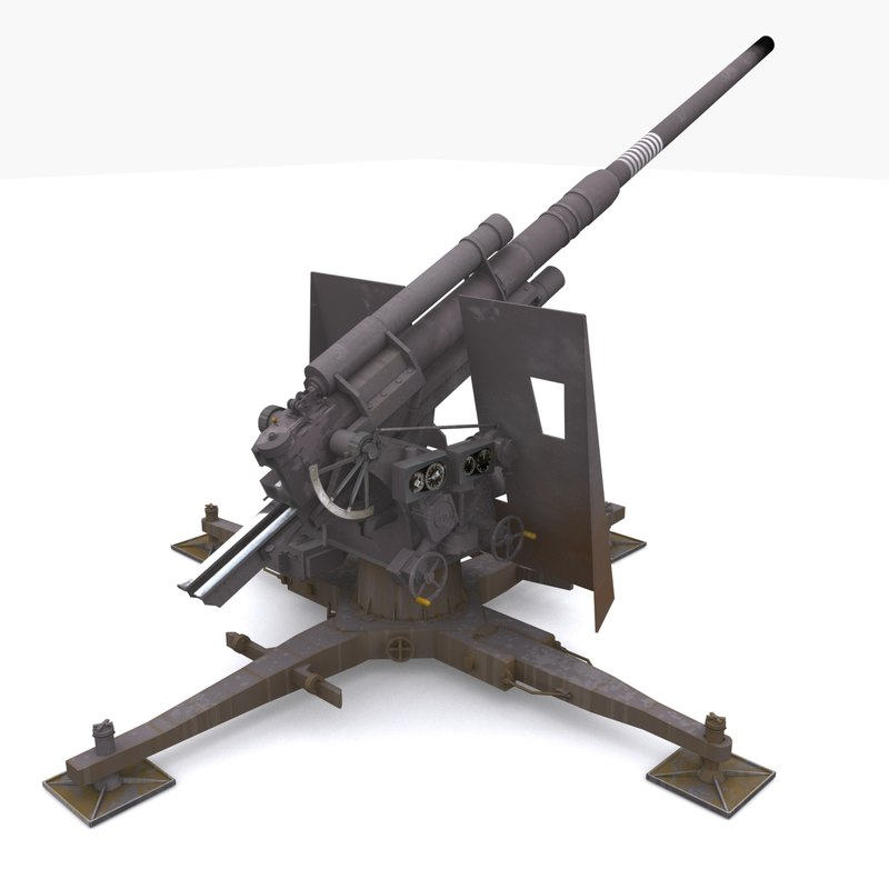 German 50 Mm Anti Tank Gun: 3d Model Of 88 Gun Artillery Flak