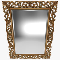 3d gold ornate square mirror
