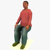 realistically seated african joanna 3d model