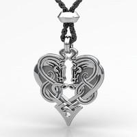 3d model horse heart pendant