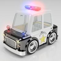 3d cartoon sedan police car interior model