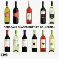 3d model 11 bordeaux shaped wine bottles