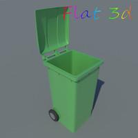 3d max plastic wheelie bin wheels