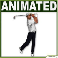 3d golf bag player cg model