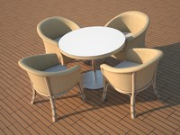 3d model chair table balcony