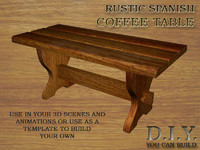 3ds max rustic spanish coffee table