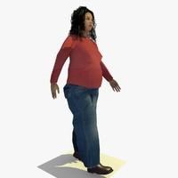3d realistically walking african female body model