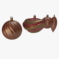 xmas tree decoration red 3d dxf