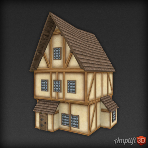 Low Poly Cartoon Medieval House 01