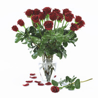 rose red flower bouquet 3d model