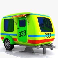 cartoon caravan cart 3d max