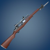 M1 Garand rifle with scope and bayonet
