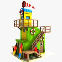 3d cartoon lifeguard tower