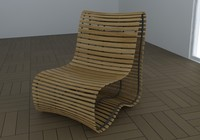 3d max modern wood chair