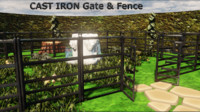 3d model cast iron gate fence