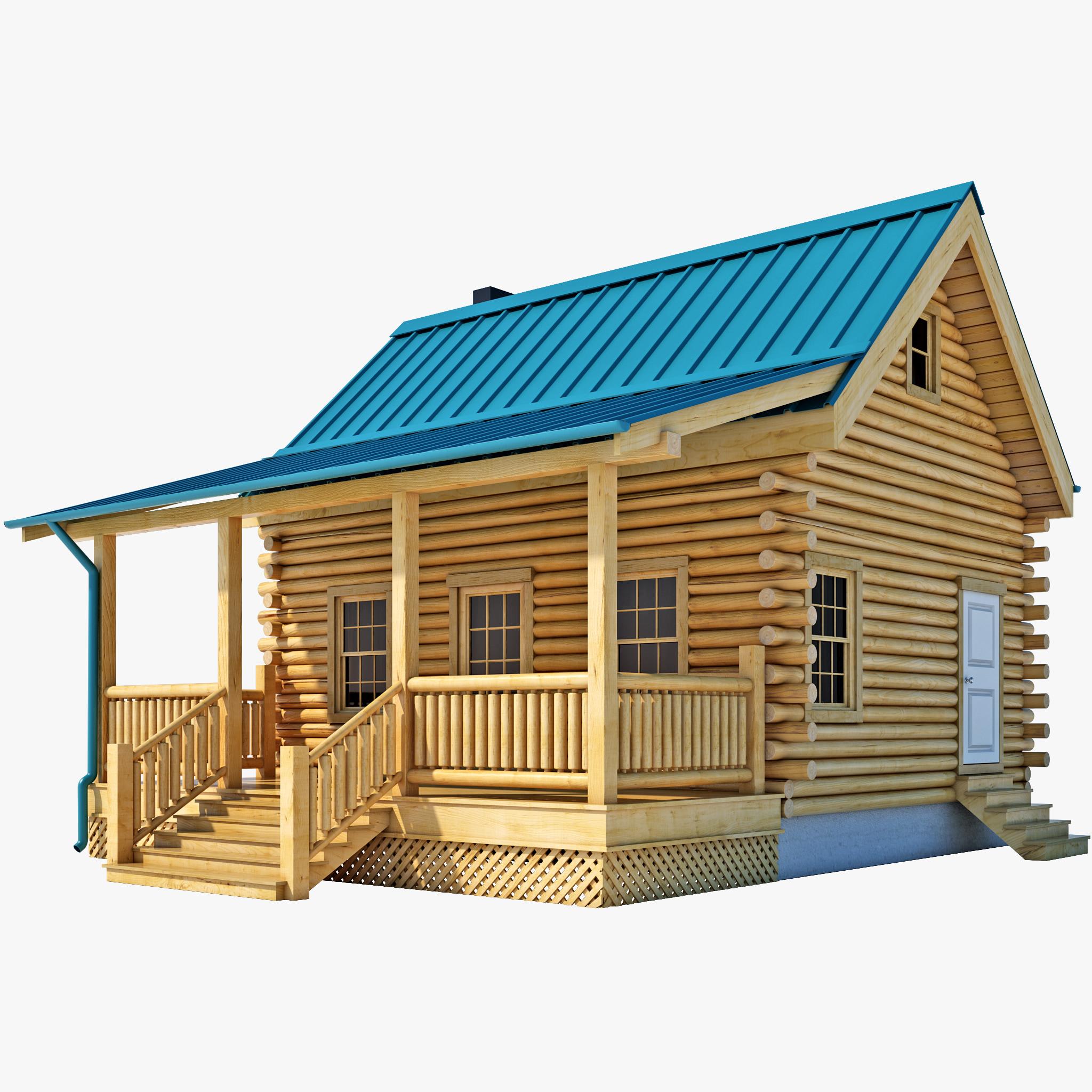 3d log cabin house for 3d house model