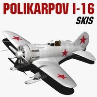 polikarpov i-16 skis obj