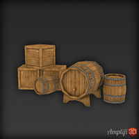 Low Poly Barrel and Cask Set