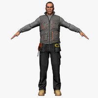 3ds max male workman body cloth